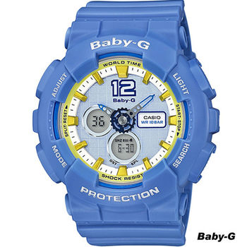 CASIO Baby-G 啦啦隊色彩繽紛運動錶 BA-120-2B 藍