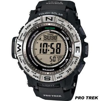 CASIO 卡西歐 PRO TREK 太陽能電波接收登山錶 PRW-3500-1 黑