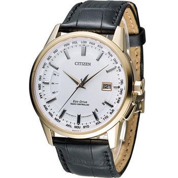 星辰 CITIZEN Eco-Drive 萬年曆優雅典範電波腕錶 CB0153-13A 白x玫瑰金色