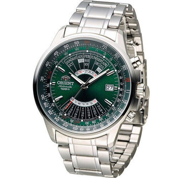 ORIENT 東方錶 MULTI-YEAR CALENDAR系列簡易萬年曆機械錶 FEU07007F 綠