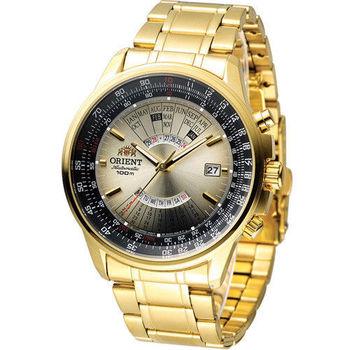 ORIENT 東方錶 MULTI-YEAR CALENDAR系列簡易萬年曆機械錶 FEU07004U 金色
