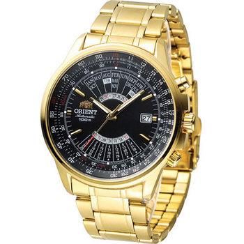 ORIENT 東方錶 MULTI-YEAR CALENDAR系列簡易萬年曆機械錶 FEU07001B 黑x金