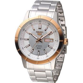 SEIKO 精工5號 穿越星際機械腕錶 7S26-04E0P SNKN56J1 玫瑰金色