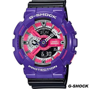 G-SHOCK 混搭撞色運動腕錶 GA-110NC-6A 紫x黑
