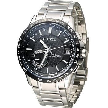 星辰 CITIZEN 光動能感光衛星紳士腕錶 CC3007-55E 黑