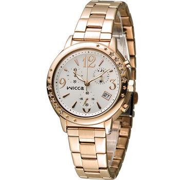 星辰 CITIZEN WICCA 魔幻閃耀甜美計時腕錶 BM1-121-11 玫瑰金色
