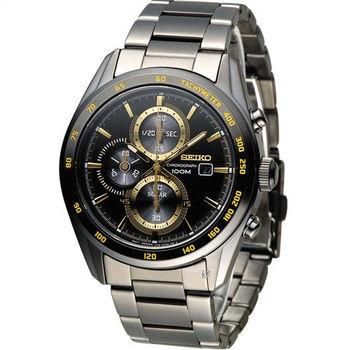 SEIKO Criteria 極速競賽太陽能計時腕錶 V176-0AL0K SSC409P1 黑x金色
