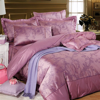 【Novaya‧諾曼亞】《莎爾蔓》精品緹花貢緞精梳棉加大雙人床包兩用被四件組
