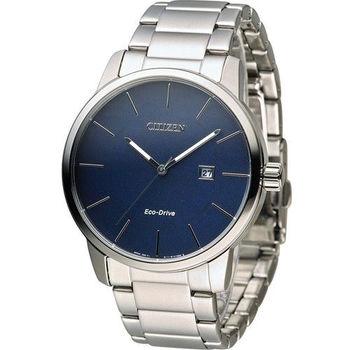 星辰 CITIZEN Eco Drive 光動能質感穩重時尚腕錶 BM6960-56L 藍