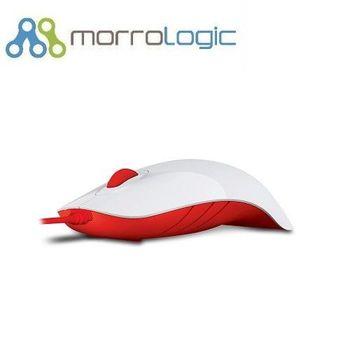【MorroLogic】 繽紛蘋果鯊USB精密光學有線滑鼠_白紅