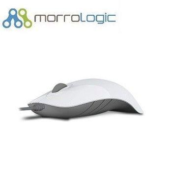 【MorroLogic】 繽紛蘋果鯊USB精密光學有線滑鼠_白灰