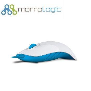 【MorroLogic】 繽紛蘋果鯊USB精密光學有線滑鼠_白藍