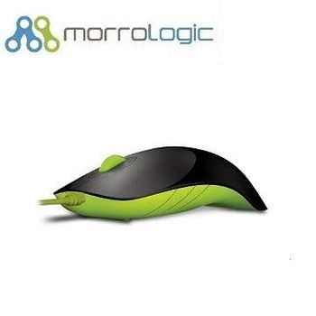 【MorroLogic】 繽紛蘋果鯊USB精密光學有線滑鼠_黑綠