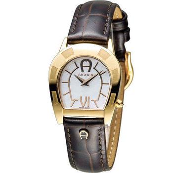 AIGNER 愛格納經典馬蹄型魅力時尚腕錶 A30207 金色