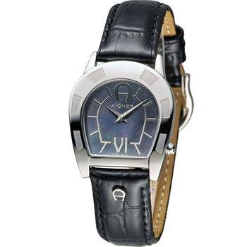 AIGNER 愛格納經典馬蹄型魅力時尚腕錶 A30206D 黑