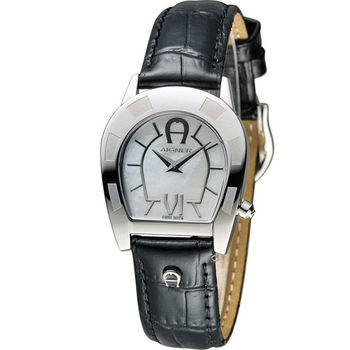 AIGNER 愛格納經典馬蹄型魅力時尚腕錶 A30206 白x黑