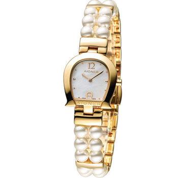 AIGNER 愛格納馬蹄系列珍珠時尚腕錶 A03225 金色