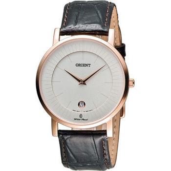 ORIENT 東方錶簡約時尚石英錶 FGW0100CW白x玫瑰金色