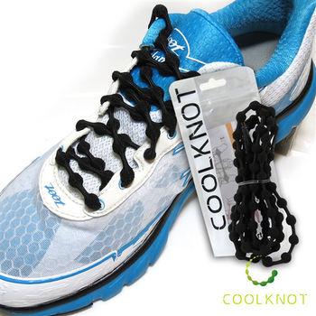COOLKNOT 豆豆免綁彈性安全鞋帶 (75cm) 馬拉松 路跑 三鐵(經典黑) CK15-07