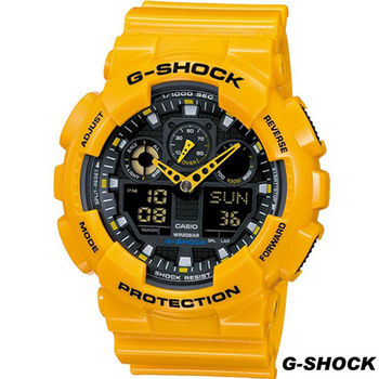 CASIO 大黃蜂雙顯運動錶 GA-100A-9A