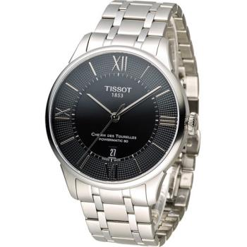 天梭 TISSOT 杜魯爾系列80小時紳士機械腕錶 T0994071105800 黑