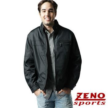ZENO傑諾 韓風仿皮衣時尚修身外套‧深藍L~XL