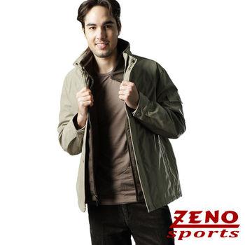 ZENO傑諾 帆布異質感美式休閒外套‧卡其L~XL