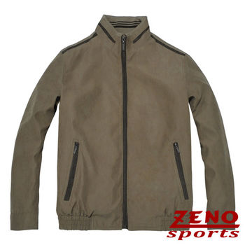 ZENO傑諾 韓風立領麂皮保暖外套‧褐色M~3L