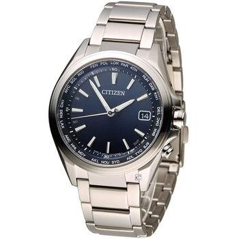 星辰 CITIZEN 五局電波光動能鈦金屬腕錶 CB1070-56L 藍