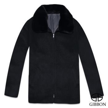 GIBBON 英倫紳士氣質毛領羊毛大衣‧浩夜黑M~XL