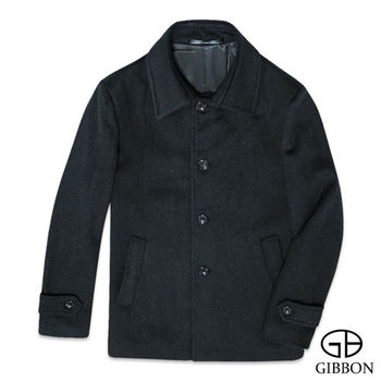 GIBBON 極簡舒適羊毛大衣外套‧深灰M~3L