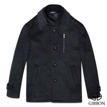 GIBBON 典雅排釦毛料大衣外套‧斜紋灰M~3L
