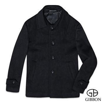 GIBBON 極簡舒適羊毛大衣外套‧黑色M~3L