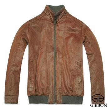 GIBBON 韓式仿皮衣立領修身款外套‧深褐L~XL