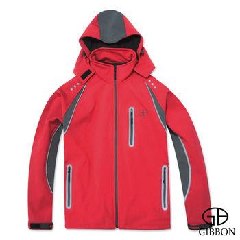 GIBBON 防風防水反光條連帽外套‧亮紅M~XL
