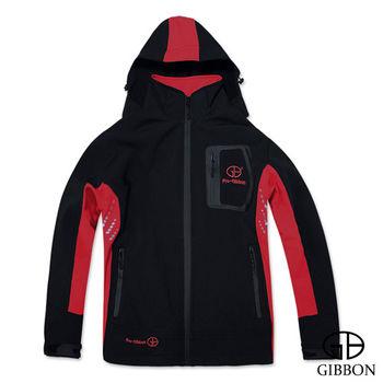 GIBBON 防風防水透氣連帽外套‧黑紅M~3L
