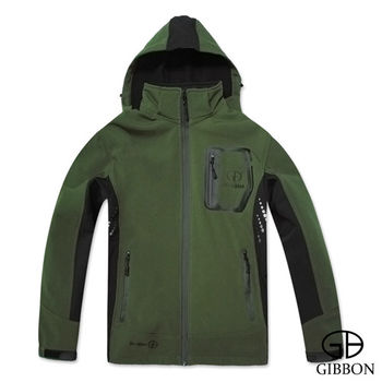 GIBBON 防風防水透氣連帽外套‧綠灰M~XL