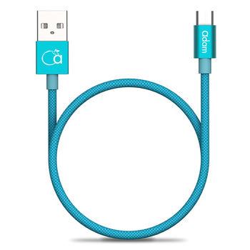 【亞果元素】Micro USB Cable  金屬編織傳輸線-藍
