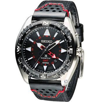 SEIKO SPOSPEX GMT 兩地時間人動電能腕錶 5M85-0AE0R SUN049P2 黑