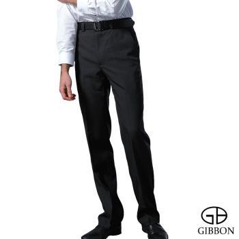GIBBON 精選保暖細刷毛平口西裝褲‧直紋黑30~42