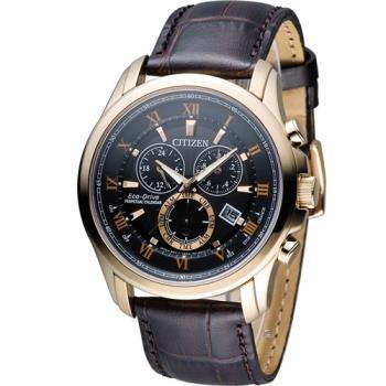 星辰 CITIZEN 光動能雙時區萬年曆限定腕錶 BL5542-07E 玫瑰金色