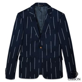 GIBBON 韓版型男修身西裝外套‧條紋藍46~50