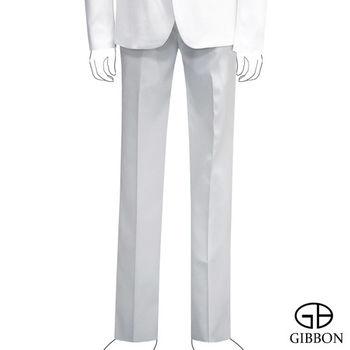 GIBBON 都會時尚修身平口西裝褲‧白色30~36