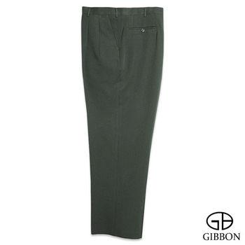 GIBBON 大尺碼悠閒風紳士打摺西裝褲‧綠色