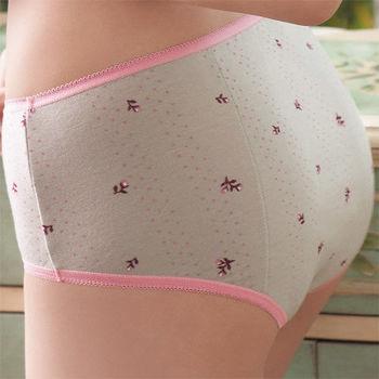 【華歌爾】條紋圓點及花朵M-LL夜間中低腰三角生理褲(石壁灰)