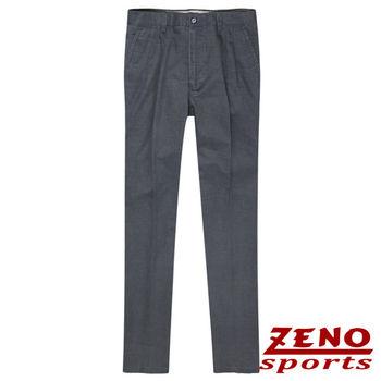 ZENO傑諾 經典格紋打摺休閒長褲‧深灰30~40