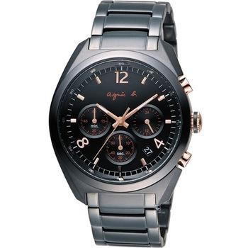 agnes b. 風靡全球法國時尚計時腕錶 BT3005X1 VD53-K280C黑x玫瑰金色