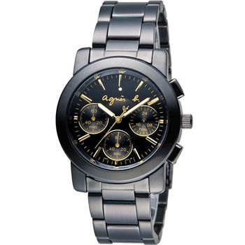 agnes b. 經典三眼計時腕錶 BWY063P V654-0AE0G