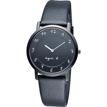 agnes b.法式優雅手寫體時標時尚腕錶 BG4002P1 7N00-0BC0D