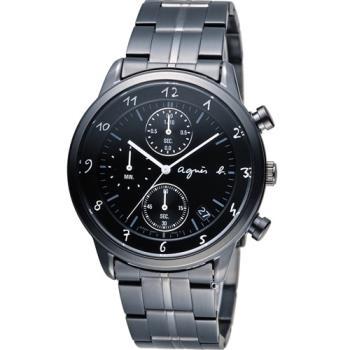 agnes b 悠緩步調 計時腕錶 BM3002J1 VD57-00A0SD 黑
